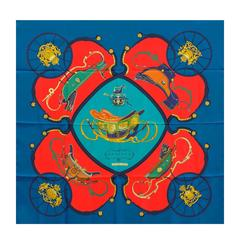 "Hermes Scarf ""Carre"" ""Springs"" 100% silk Covalt / Vermillon / Vert Color 2016"