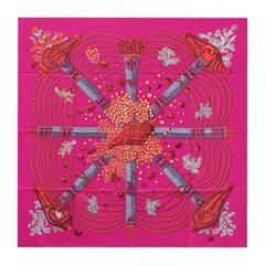 "Hermes Scarf ""Carre"" ""Chemins de Corail"" 36"" x 36"" (90cmx90cm) 100% silk 2016"