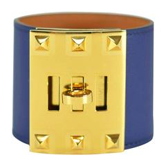 "Hermes Bracelet ""Extreme"" Swift Leather Blue Saphire Color Gold Hardware S Size"