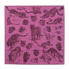 "Hermes Carre 100% Silk ""Dans l'atelier de Robert Dallet"" Cyclamen Pink / Gray /"