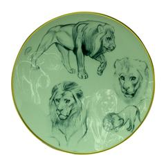 """Hermes """"Carnets d'Equateur"""" Dessert plate, Lions theme, 8.3"""""""