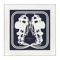 "Hermes Scarf ""Carre"" ""Brides de Gala Tatoo"" 100% Silk Bees Navy / White Color"