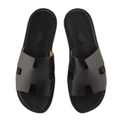 "Hermes Men Sandals ""Izmir"" Calfskin Leather Black Color 9 Size"