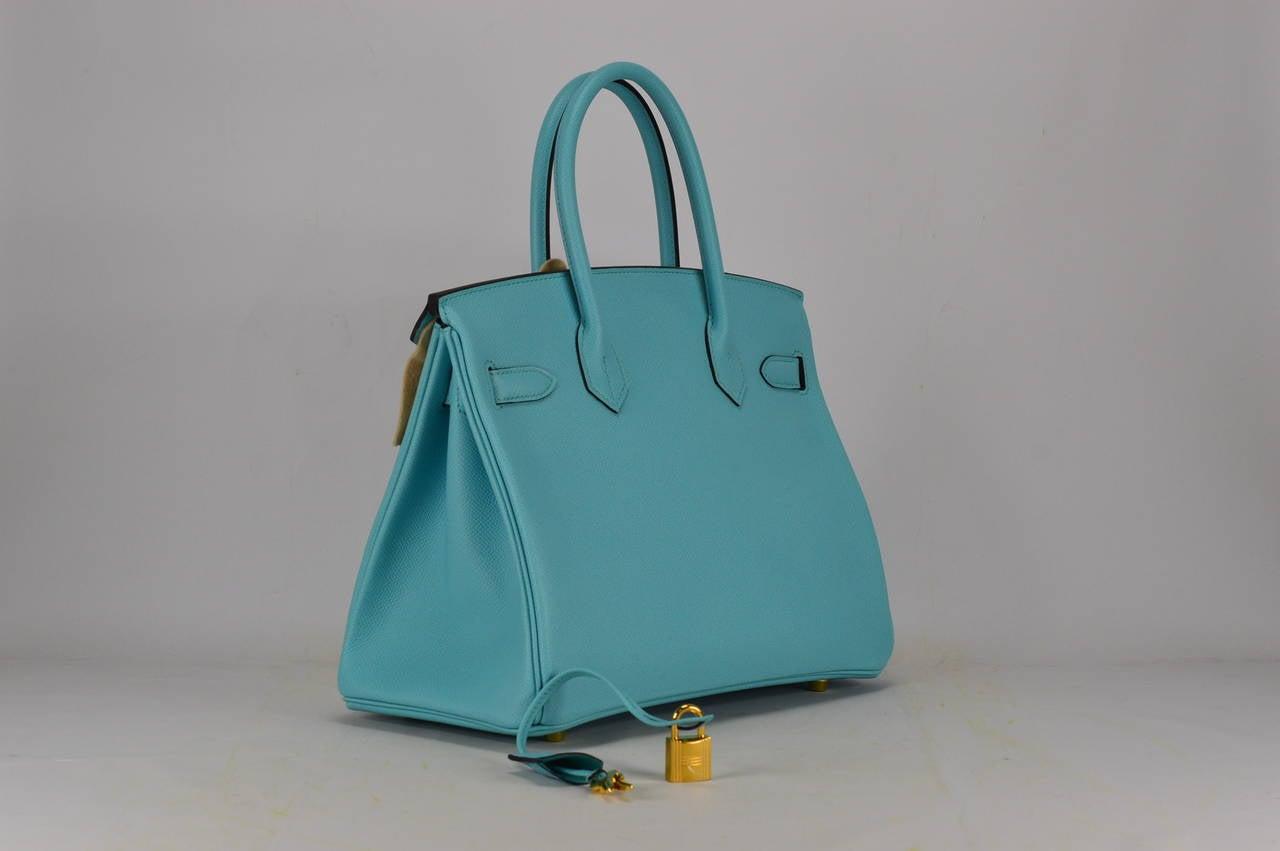 HERMES Birkin bag 30 Veau Blue Atoll Gold Hardware at 1stdibs