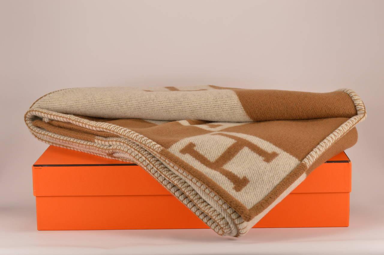 Hermes Avalon Blanket Couch Ecru Camel At 1stdibs