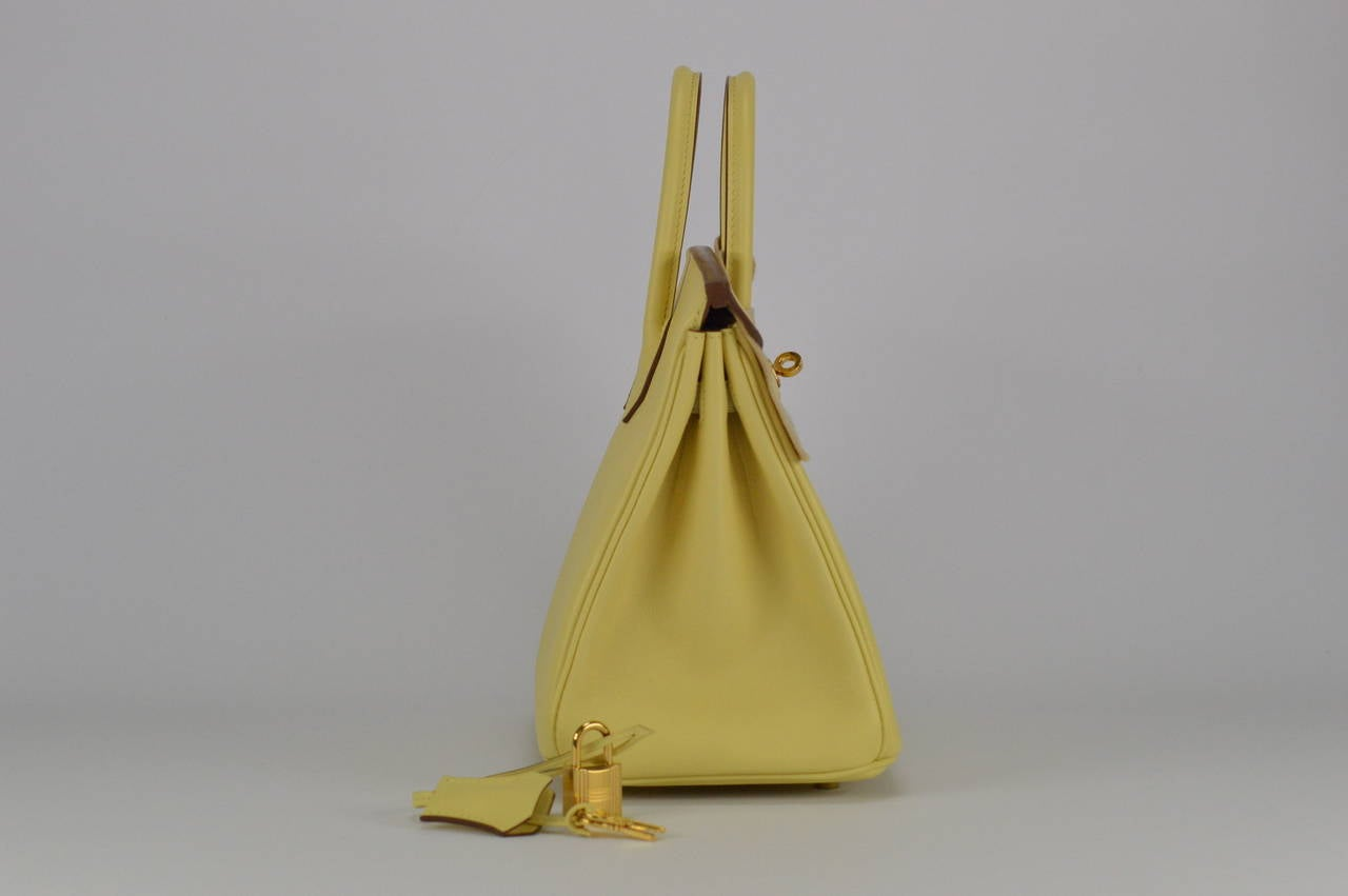 birkin bag for sale - HERMES Handbag BIRKIN 25 SWIFT JAUNE POUSSIN GOLD HARDWARE at 1stdibs