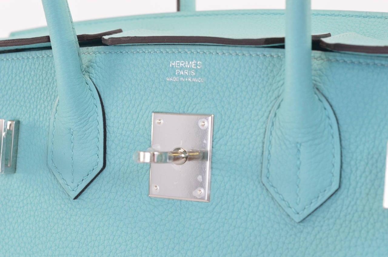 HERMES Birkin bag 30 Togo Blue Atoll Palladium Hardware at 1stdibs