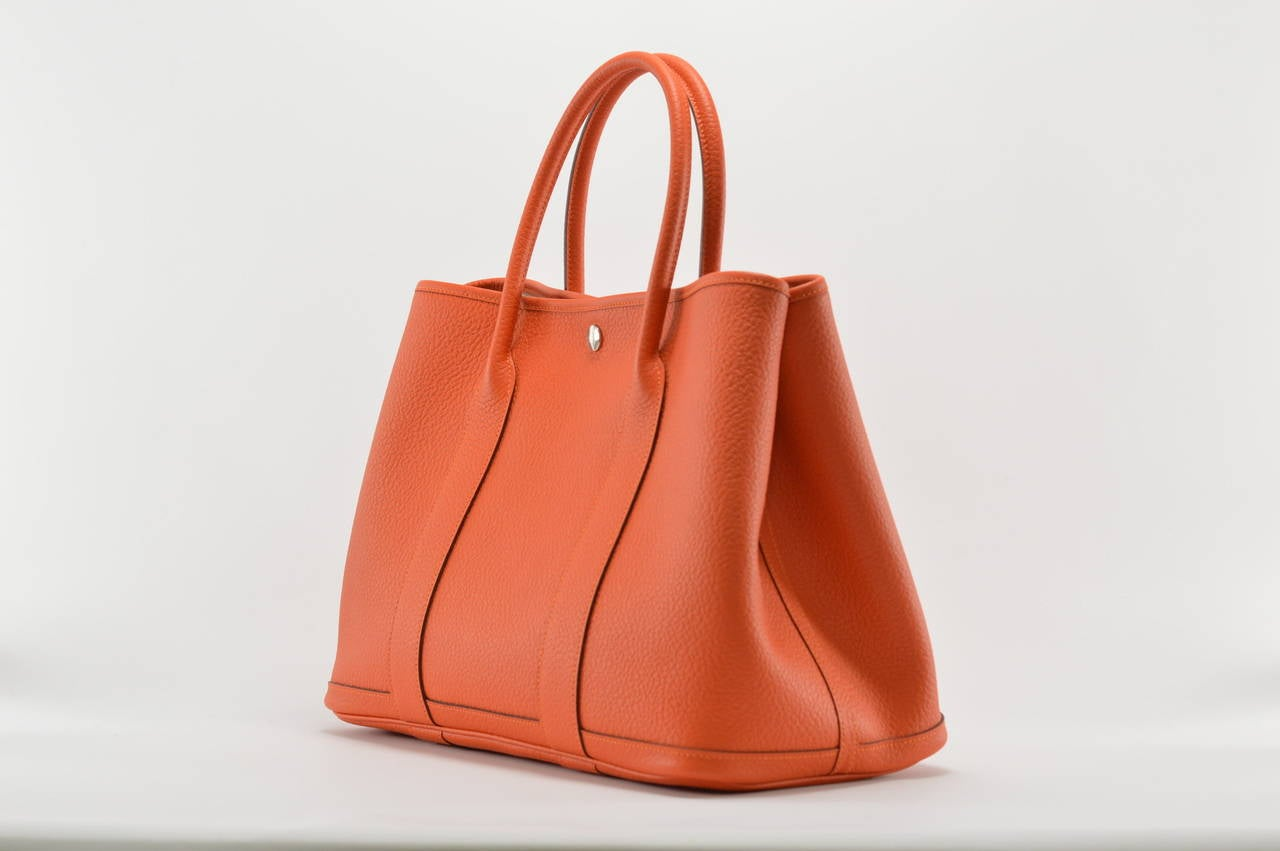 HERMES Handbag GARDEN PARTY 36 Veau FEU COLOR Palladium HARDWARE ...