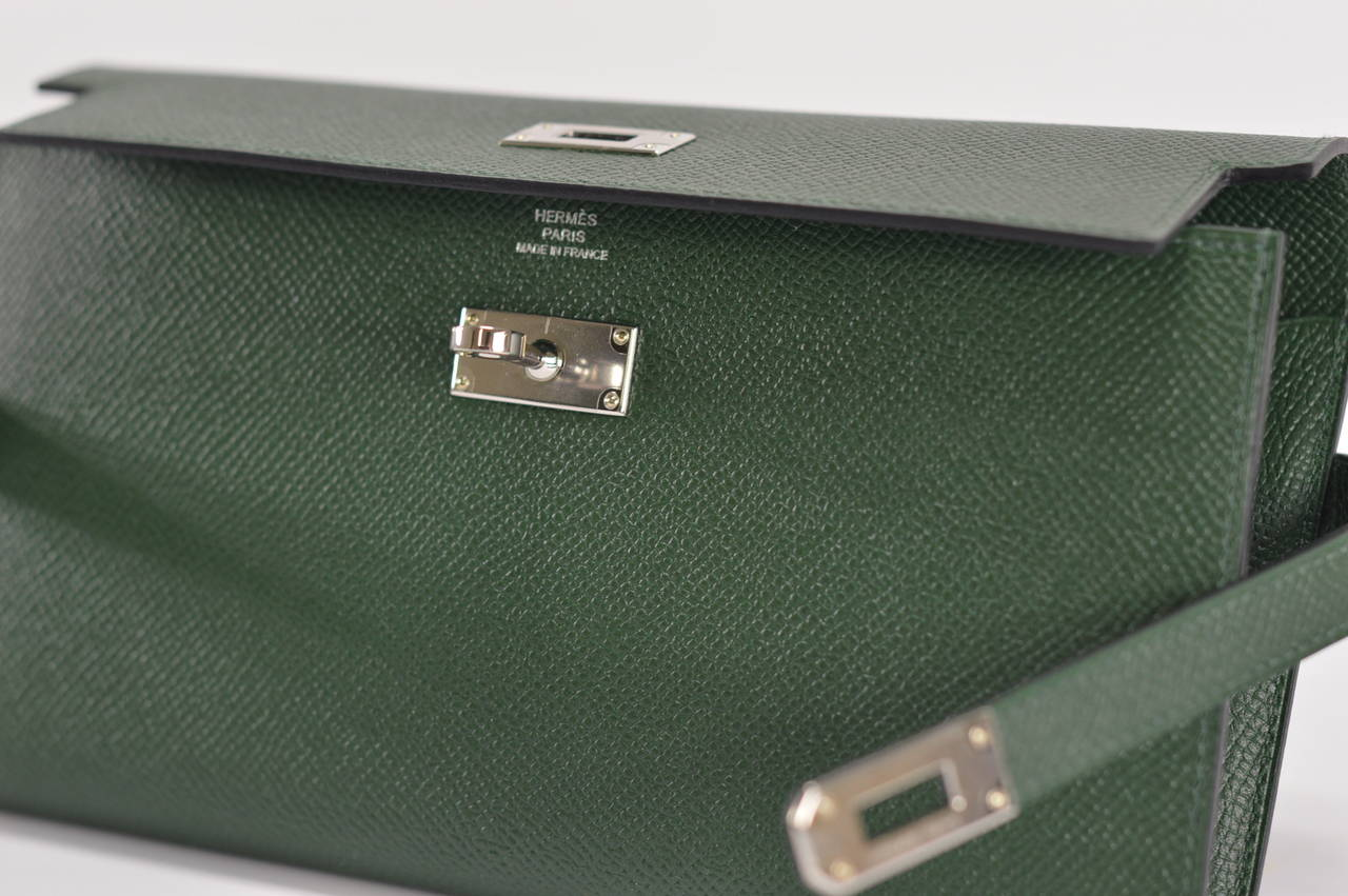 imitation hermes - Hermes Wallet KELLY CLASIQUE VERT ANGLAIS Palladium Hardware at ...