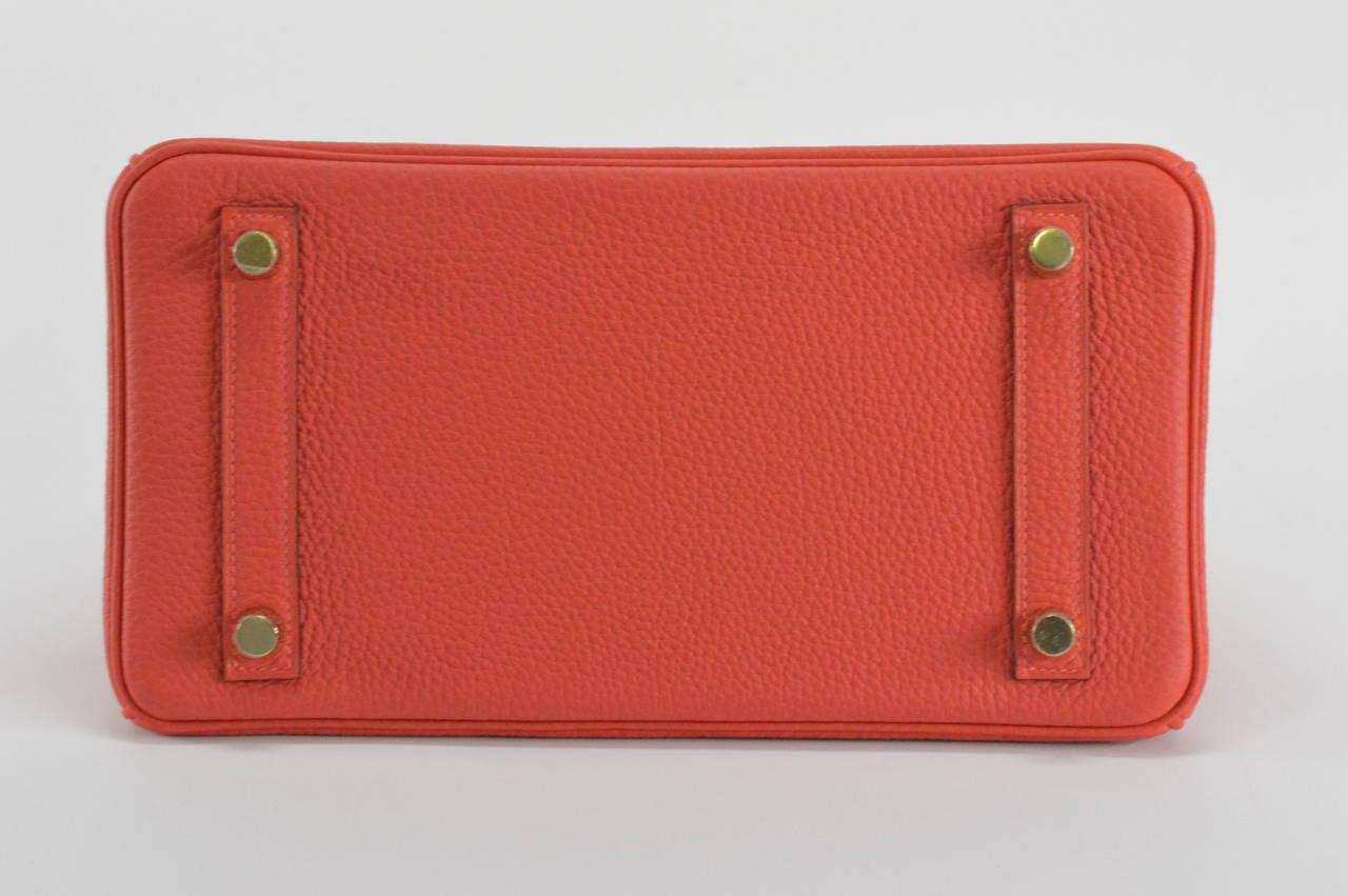 eb53d027011 HERMES BIRKIN Bag 25 TOGO ROUGE PIVOINE GOLD Hardware at 1stdibs