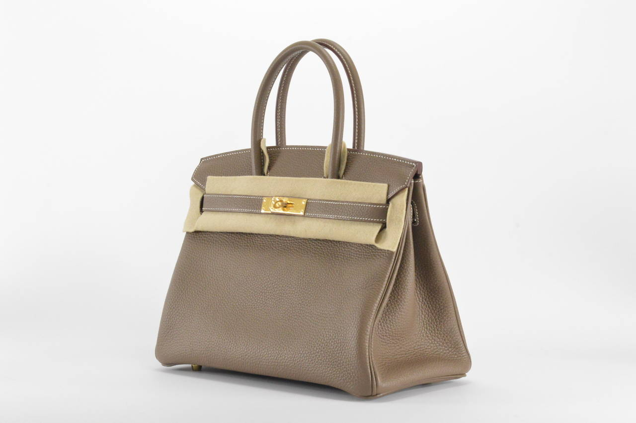 best hermes replica handbags - HERMES BIRKIN Bag 30 TAURILLON CLEMENCE ETOUPE GOLD Hardware at ...