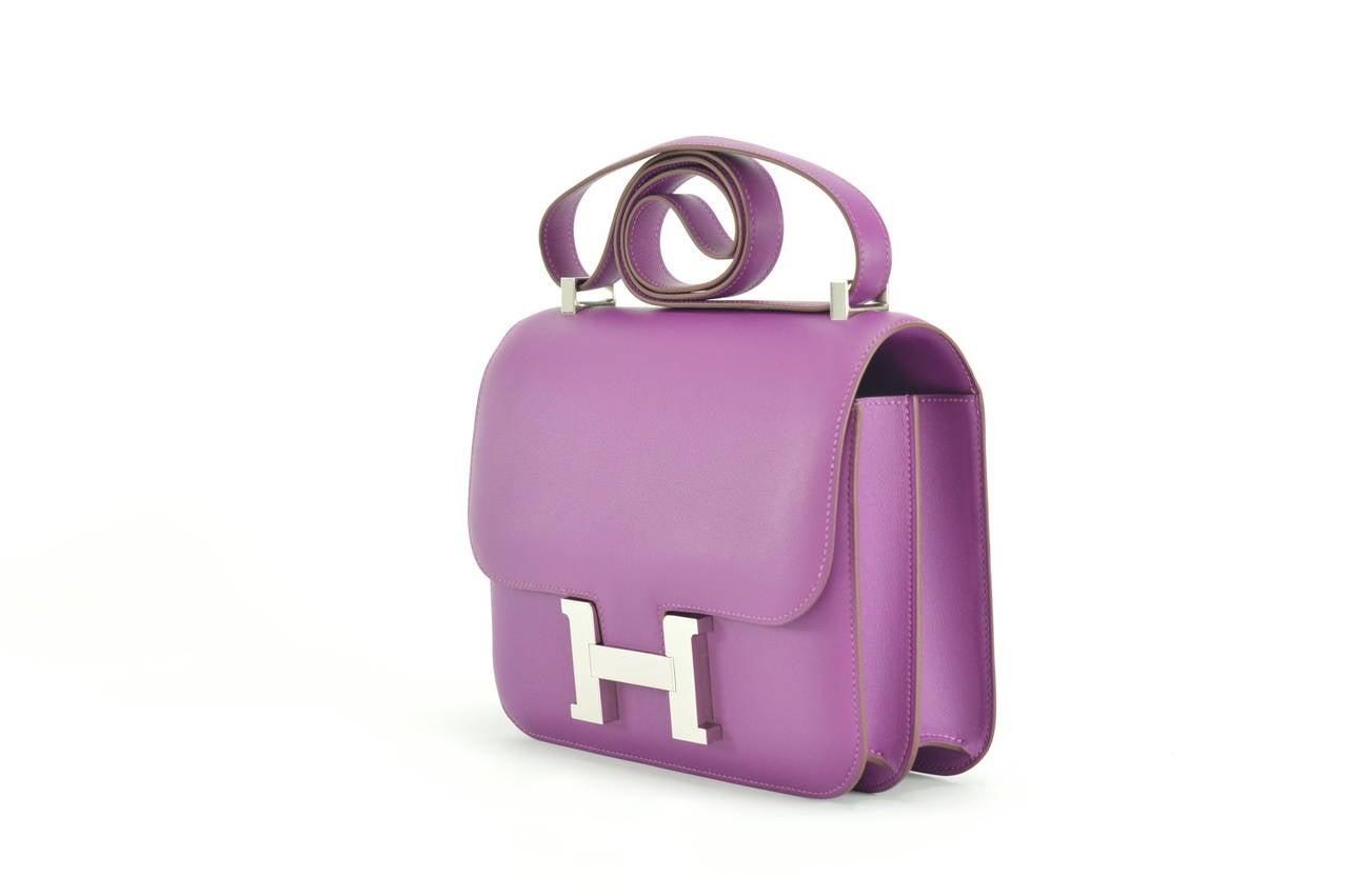 handbag hermes - HERMES Handbag CONSTANCE III 24, ANEMONE Palladium Hardware at 1stdibs