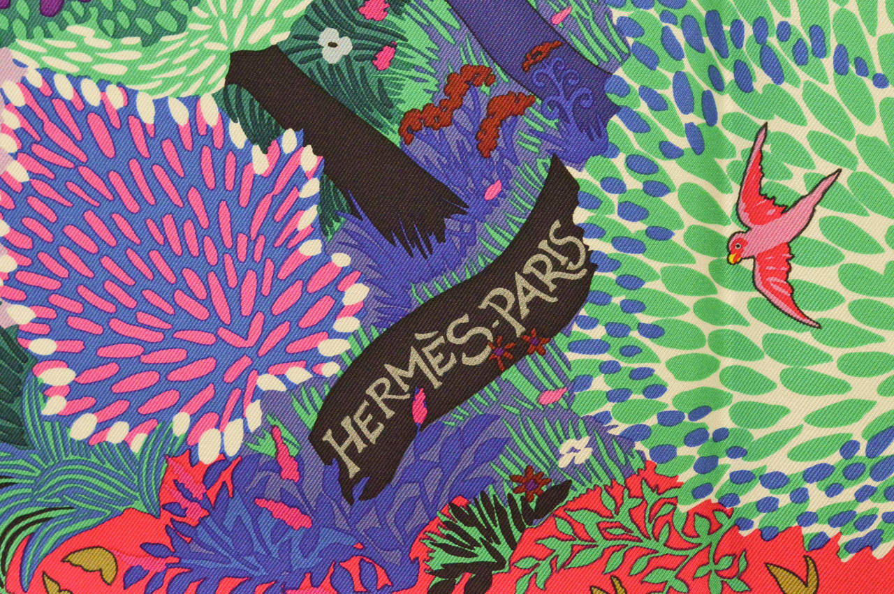 Hermes Carre 90 Twill Dans Un Jardin Anglais Rose Vift: dans un jardin anglais hermes