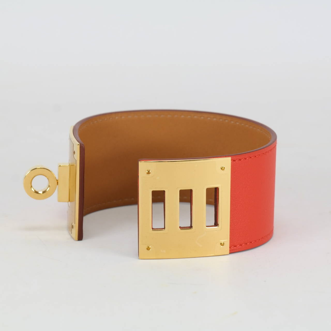 fake hermes birkin - Herm��s Bracelet KELLY DOG CAPUCINE GOLD Hardware Size S at 1stdibs