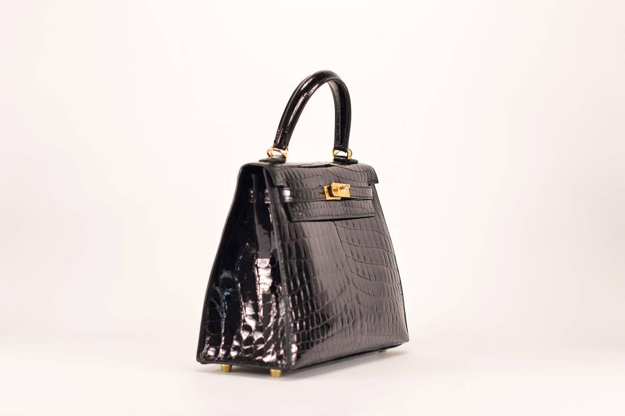hermes bag kelly - HERMES Handbag KELLY II SELLIER 25 CROCODILE NILOTICUS BLACK GOLD ...
