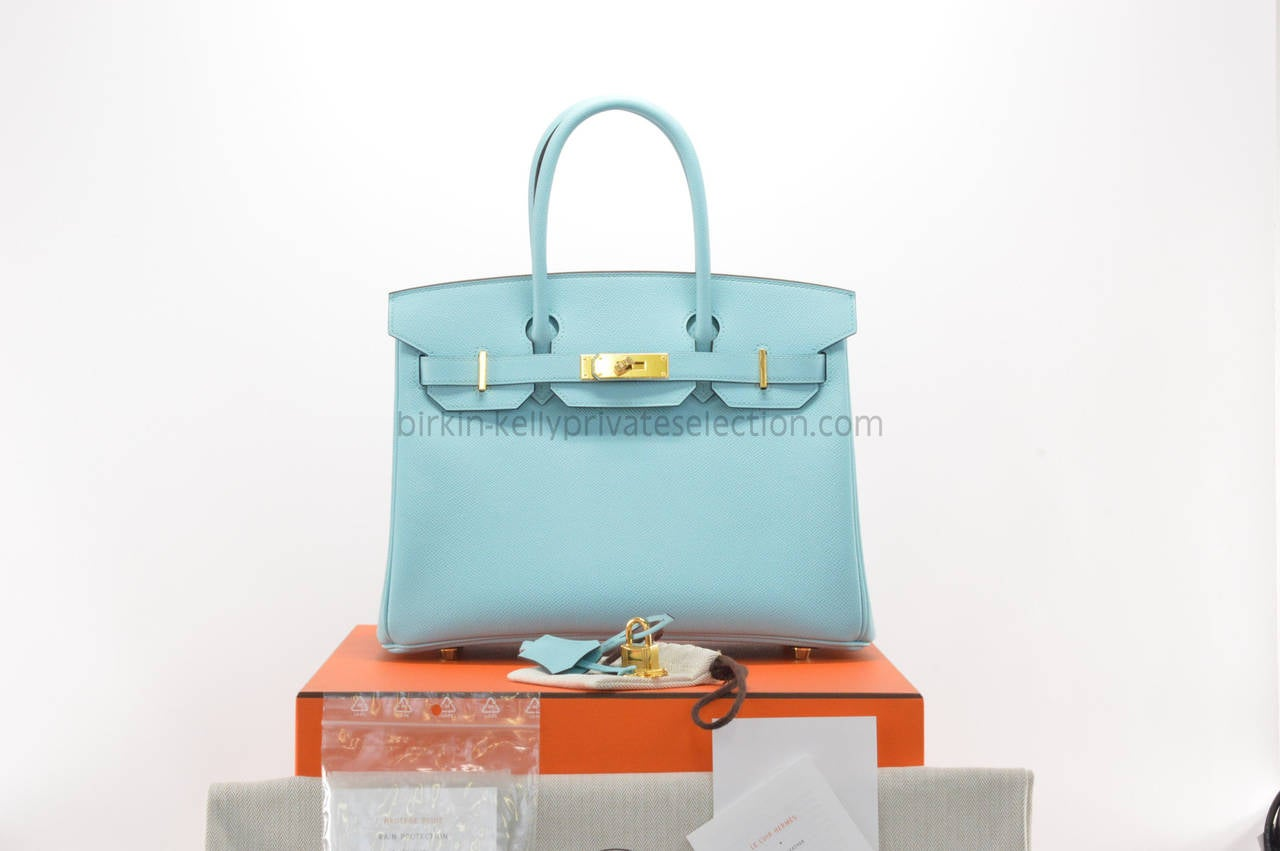 HERMES Birkin bag 30 Togo Blue Atoll Gold Hardware 2015 at 1stdibs