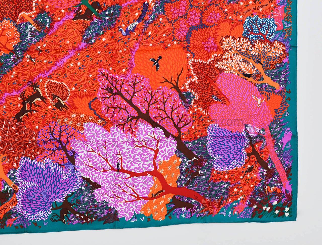 Hermes carre silk dans un jardin anglais green coral for Dans un jardin anglais twilly