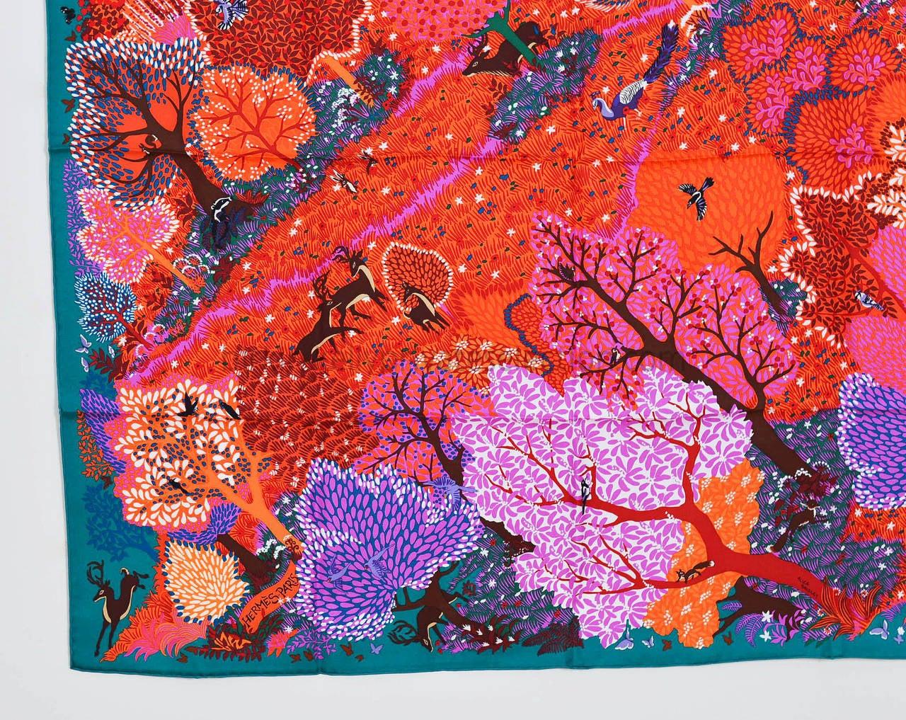 Hermes carre silk dans un jardin anglais green coral for Dans un jardin anglais hermes