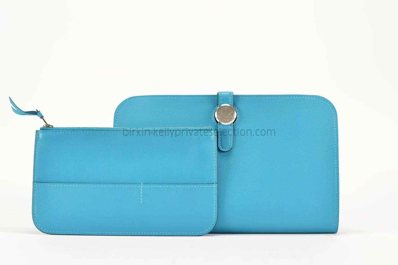 hermes Dogon Duo turquoise wallet