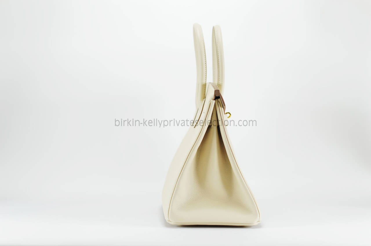 HERMES Handbag BIRKIN 30 EPSOM Leather White Gold HARDWARE 2015 ...