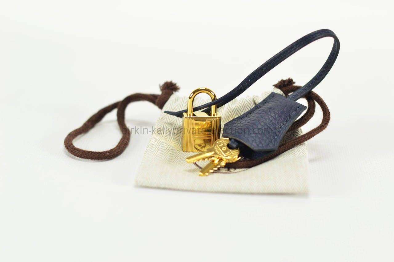 HERMES Handbag KELLY II RETOURNE BLEU TAURILLON CLEMENCE Gold ...