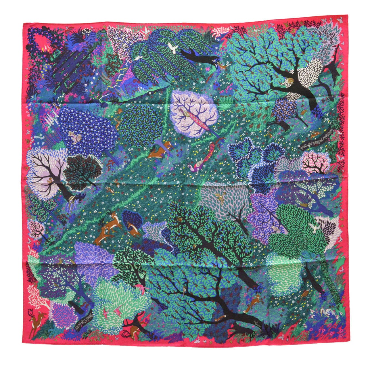 Hermes carre twill dans un jardin anglais silk bright pink Dans un jardin anglais hermes