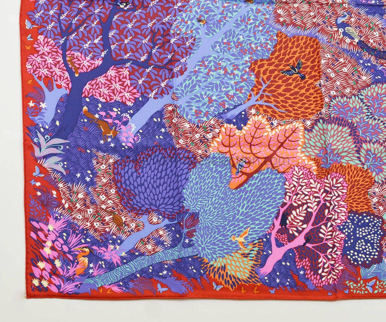 Hermes carre silk 90cm dans un jardin anglais red purple for Dans un jardin anglais twilly