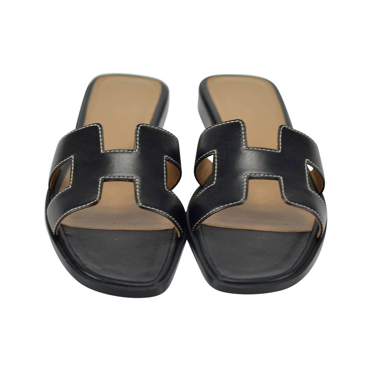 hermes sandals oran 36 box black 2015  at 1stdibs