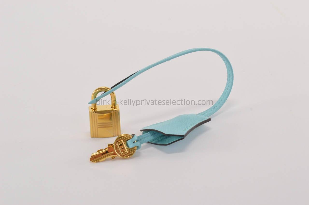 HERMES Handbag BIRKIN 30 EPSOM Blue ATOLL GOLD HARDWARE at 1stdibs