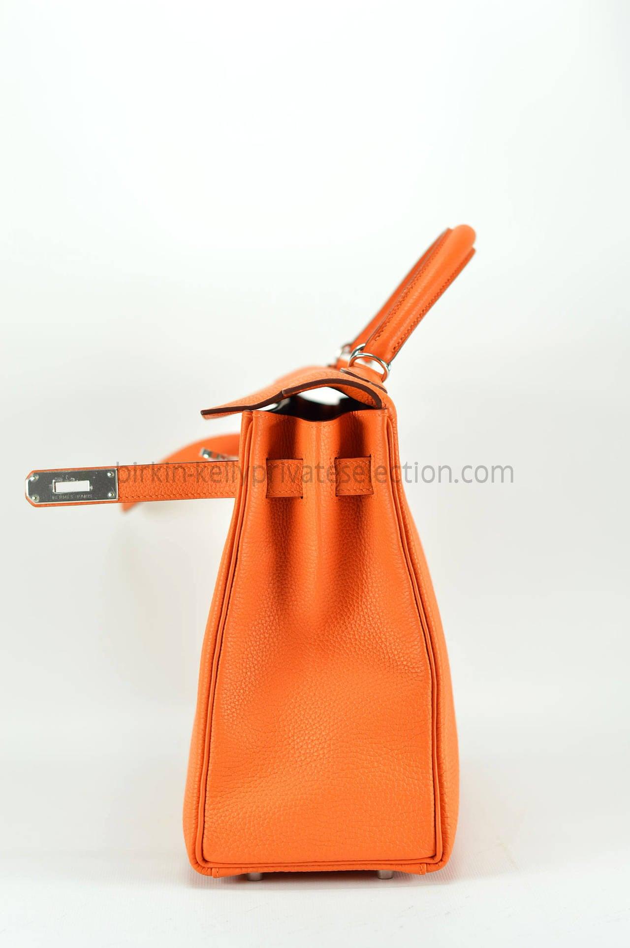 HERMES Handbag KELLY II RETOURNE 32 Orange Palladium Hardware 2015 ...