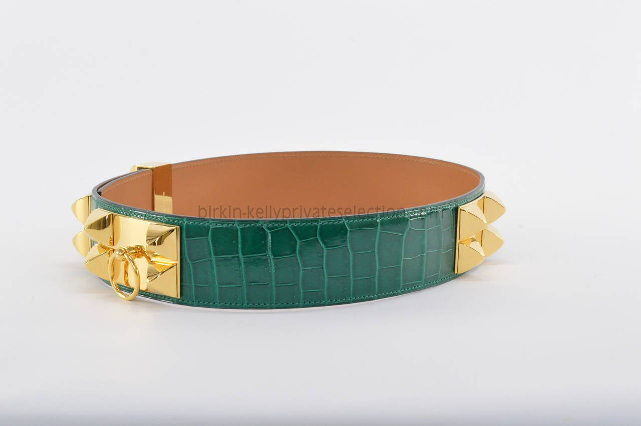 birkin crocodile bag - Hermes CROCODILE Belt Collier de Chien 75 CM Green 2014. at 1stdibs