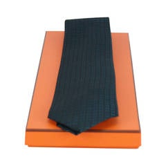 Hermes tie silk FACONNE H BICOLORE BLACK BLUE COBALT 2015.