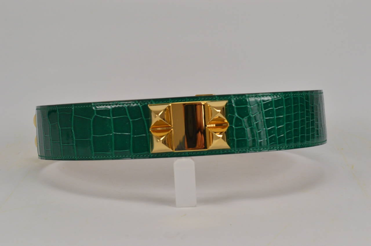 Hermes Belt Collier de Chien Crocodile Green