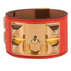 Hermes Bracelete Collier de Chien V2 Alligator Mississippiensis Orange Poppy Gol