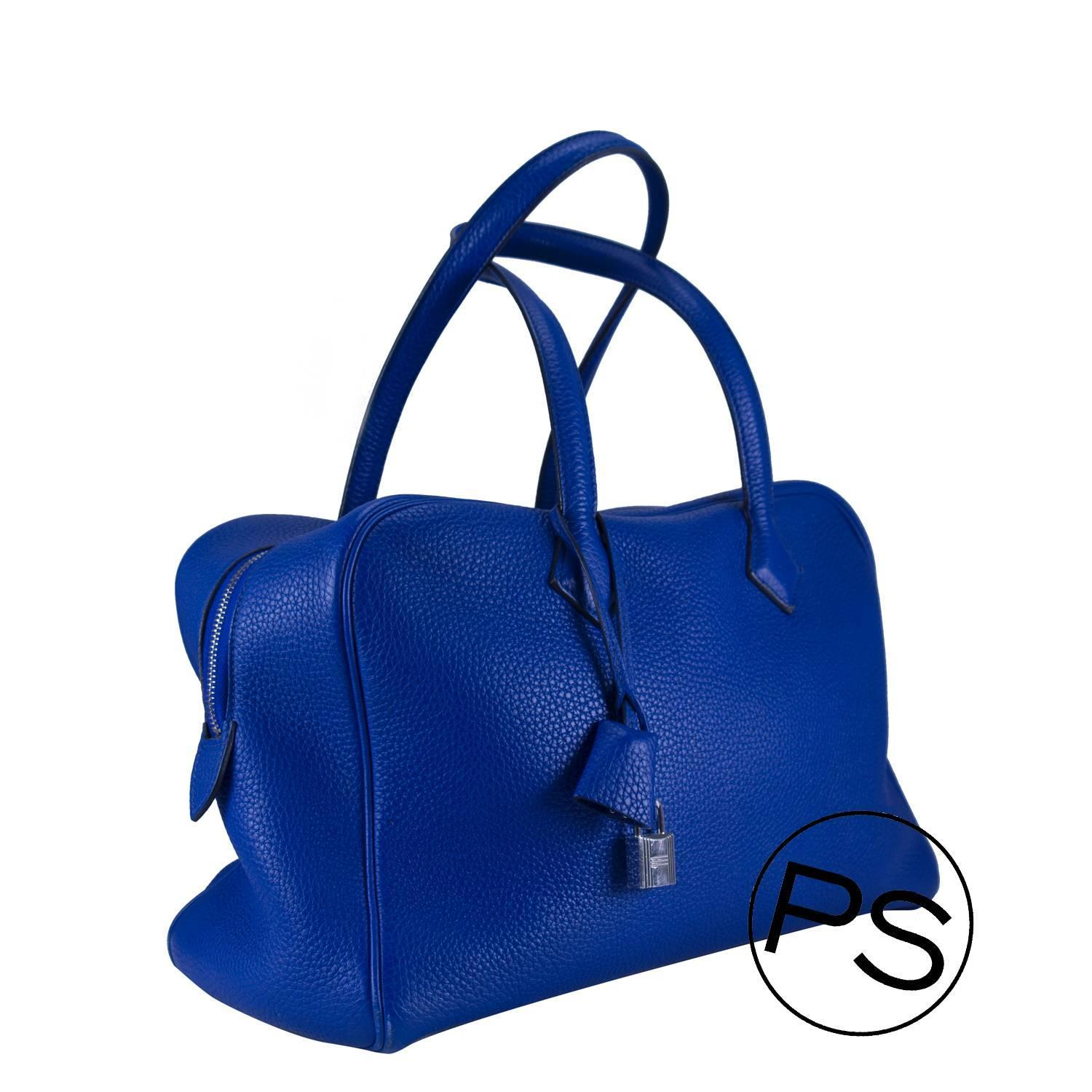 Hermes Handbag Victoria II Blue 2013 at 1stdibs