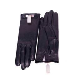 HERMES Gloves Woman SOYA Size 6,5 Black Palladium Hardware 2015..