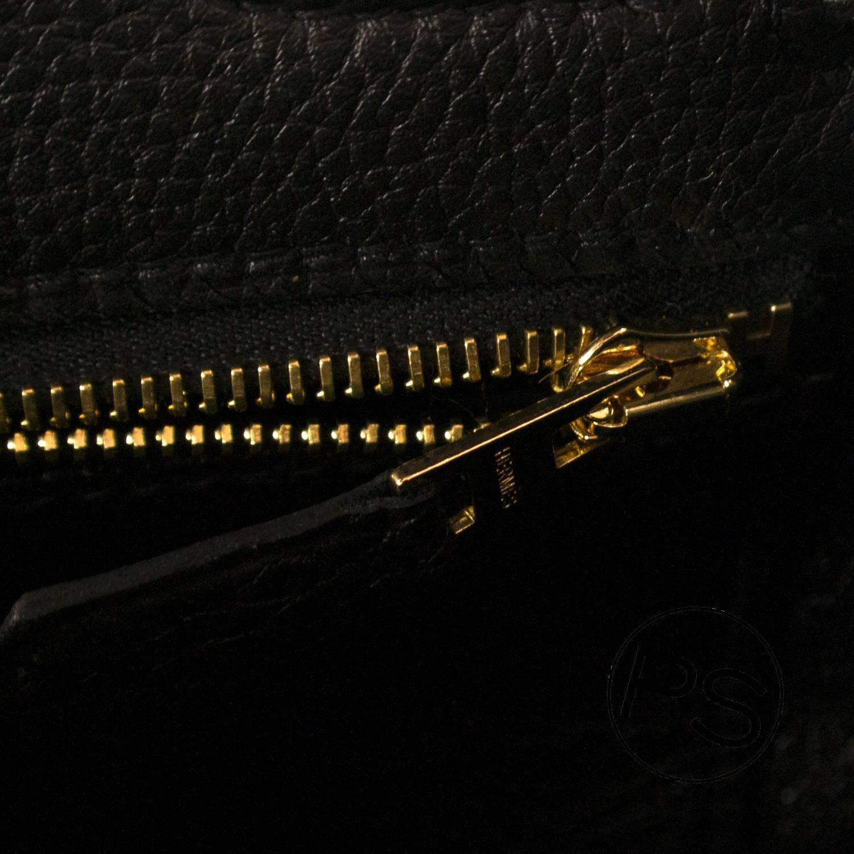 Hermes Handbag Kelly II 32 Retourne Togo Black Gold Hardware 2015