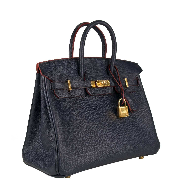 birkin handbag replica - Hermes Handbag Birkin 25 Contour Epsom Blue Indigo Gold Hardware ...