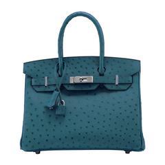Hermes Handbag Birkin 30 Ostrich Leather 7C Cobalt Color Palladium Hardware 2016