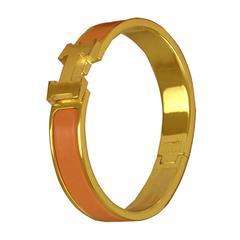 "Hermes Bracelet ""Clic H"" Gold Plated Hardware Peche Melba Color PM Size S 2017"