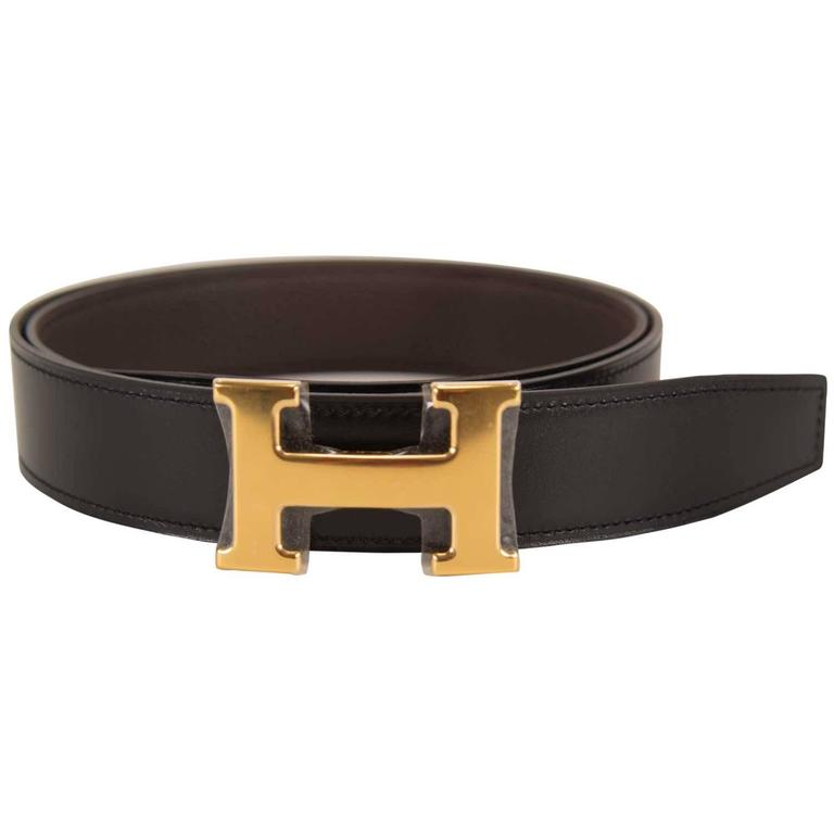 hermes belt 32 mm 90cm box togo leather black chocolat
