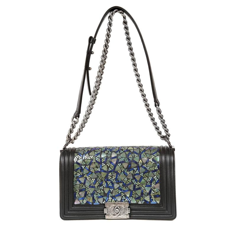 Chanel Black Lambskin and Green Mosaic Leaf Boy Bag 1