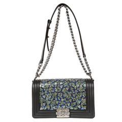 Chanel Black Lambskin and Green Mosaic Leaf Boy Bag