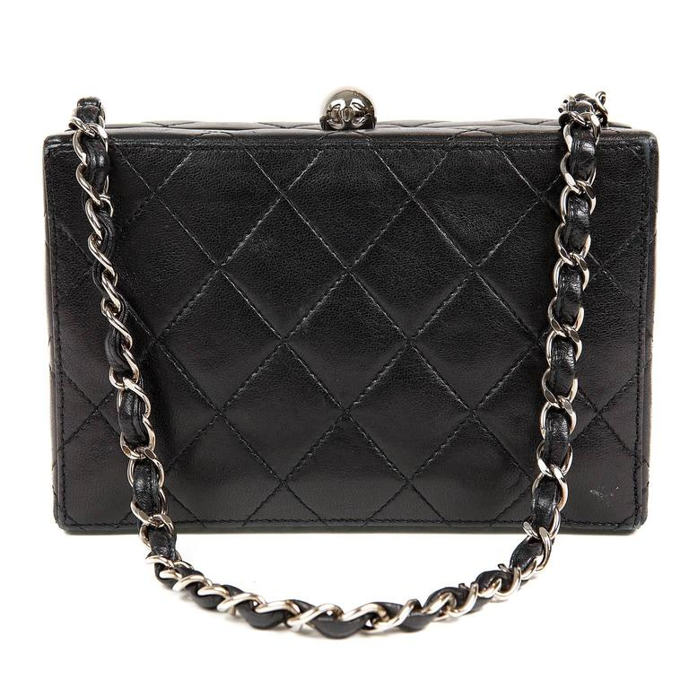 Chanel Black Quilted Leather Mini Box Bag 1