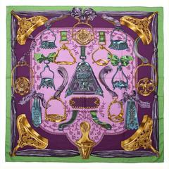 Hermès Purple Etriers Shawl Scarf