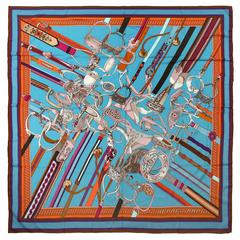 Hermès Turquoise Concours d'etriers Cashmere and Silk Shawl