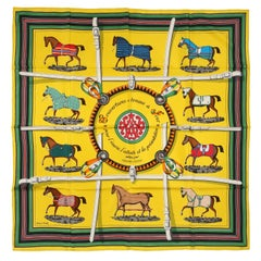 Hermes Yellow Silk Couvertures et Tenues de Jour 90 cm Scarf