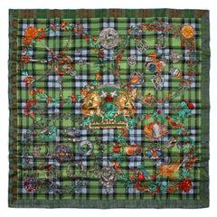 Hermes Green Fleurs D'Ecosse Silk Scarf 90 cm