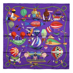Hermes Purple Les Folies du Ciel 90 cm Silk Scarf