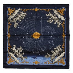 Hermes Cosmos Midnight Blue 90 cm Silk Scarf